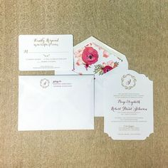 These custom watercolor inspired floral liners add the perfect touch to this elegant wedding invitations. Congratulations to the new Mr. and Mrs. Johnson, we wish you many years of love and happiness.   #papernmoreok #pnmbrides #watercolor #custominvitations