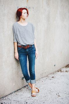 grey outfit via this is glamorous.
