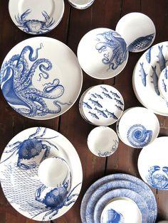 Caskata sea life designs in our signature blue – bring on t… Crab boil? Caskata sea life designs in our signature blue – bring on the beach! Ceramic Plates, Ceramic Pottery, Decorative Plates, Wedgwood Pottery, Assiette Design, Porcelain Dinnerware, Dinnerware Sets, Vase, Life Design