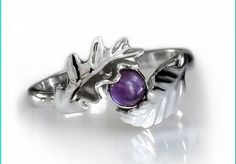 Sterling Silver Leaf and Amethyst Ring