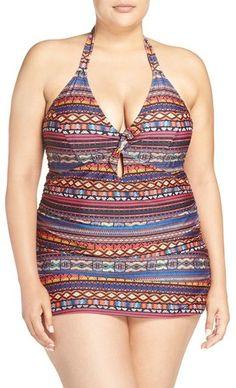 Studio Works Womens 10 Hot Rod One-Piece Swimdress Tummy Control Swimsuit