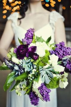 purple and green - maybe not your color scheme but pretty