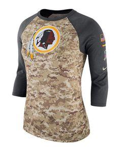46d267565 Nike Ladies Redskins Salute To Service Camo Raglan T-Shirt | Redskins Team  Store