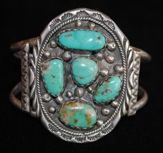 Vintage Sterling Silver and Natural Turquoise Cuff Bracelet