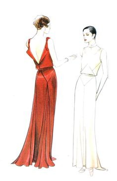 Retro 1930s Vogue 2441 Close Fitting Long Evening Gown Sewing Pattern Size 14 Bust 36 Art Deco Style
