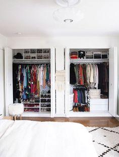 Ideas Double Closet Makeover Storage Spaces For 2019 Ikea Closet Organizer, Small Closet Organization, Closet Storage, Organization Ideas, Organising Ideas, Closet Door Makeover, Closet Makeovers, Double Closet Doors, Open Closets