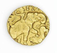 gold dinar of kumaraqupta I 414, Gupta Dynasty