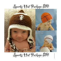 Crochet Sports Hat Package Patterns - Football, Basketball & Baseball Hats