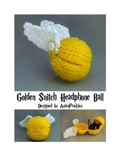 This listing is for a Golden Snitch Headphone Ball crochet pattern. The pattern – Amigurumi Cute Crochet, Crochet Geek, Crochet Crafts, Yarn Crafts, Crochet Toys, Crotchet, Yarn Projects, Knitting Projects, Crochet Projects