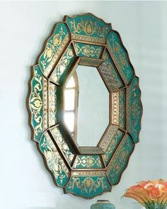 Green and Gold Moroccan Inspired Mirror, Discover home design ideas, furniture, browse photos and plan projects at HG Design Ideas - connecting homeowners with the latest trends in home design & remodeling Feng Shui, Spiegel Design, Beautiful Mirrors, Beautiful Pictures, Moroccan Decor, Moroccan Mirror, Morrocan Interior, Moroccan Room, Moroccan Furniture