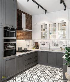 Galley Kitchen Design, Kitchen Room Design, Home Room Design, Kitchen Cabinet Design, Modern Kitchen Design, Home Decor Kitchen, Kitchen Living, Interior Design Kitchen, Home Kitchens