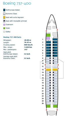 klm royal dutch airlines boeing 737-400 aircraft seating chart