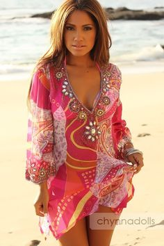 Cover up paisley pink plunge tunic sequins jeweled swim dress swimwear cover ups, swimsuit Summer Wear, Spring Summer Fashion, Summer Outfits, Cute Outfits, Spring Break, Hippie Style, My Style, Bathing Suit Covers, Bathing Suits