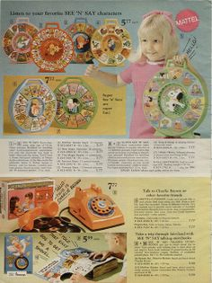 See 'n Says and Talking Phone by Mattel from the J. Penney Christmas Catalog, 1970 - I had the farmer See 'n Say and the talking phone. Retro Advertising, Vintage Advertisements, Vintage Ads, 1970s Toys, Welcome Winter, Toy Catalogs, See And Say, Retro Party, Christmas Catalogs