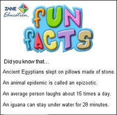 Fun Facts 64 from Zane Education at http://www.zaneeducation.com