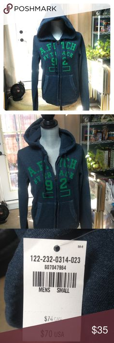 Abercrombie & Fitch men's small zip-up hoodie NWT! Abercrombie & Fitch men's small zip-up hoodie NWT! Navy with green writing Abercrombie & Fitch Jackets & Coats Lightweight & Shirt Jackets