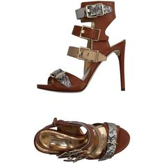 Guess Sandals ($118) ❤ liked on Polyvore featuring shoes, sandals, brown, leather sole shoes, brown leather sandals, stiletto sandals, buckle sandals and guess sandals