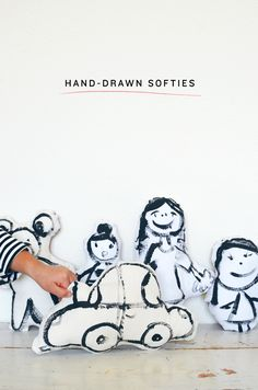Hand-Drawn Softies Supplies: 1 yard of plain fabric 1 yard of patterned fabric Coordinating...