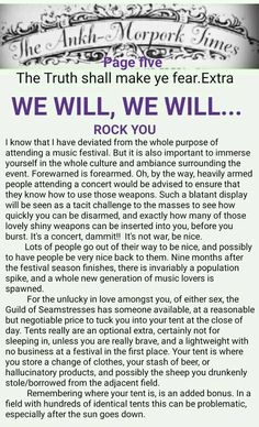 The Ankh-Morpork Times. The Truth shall make ye fear. Extra. WE WILL, WE WILL.. ROCK YOU. page five. by David Green. 6 Aug 2015