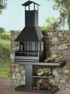 Find out all of the information about the ROCAL product: wood-burning barbecue / free-standing / metal PALMA 75 GARDEN. Patio Kitchen, Diy Outdoor Kitchen, Outdoor Oven, Summer Kitchen, Outdoor Cooking, Outdoor Decor, Barbecue Design, Grill Design, Fire Pit Grill