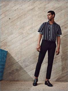 Man stripes-editorials zara china ▲ w a r r e n + ▲ men' s f Mens Fashion Sweaters, Mens Fashion Suits, Mode Masculine, Sport Food, Mode Lookbook, Moda Blog, Look Man, Fashion Moda, Fashion Fashion