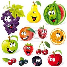Buy Fruit Cartoon by hanaschwarz on GraphicRiver. funny fruit cartoon isolated on white background L'art Du Fruit, Deco Fruit, Fruit Art, Fruit Clipart, Fruit Vector, Funny Fruit, Cute Fruit, Vegetable Cartoon, Fruit Cartoon