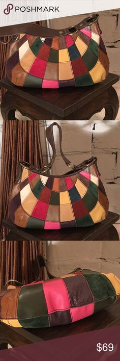 Lucky Brand Multi Leather Suede Patchwork Hobo Lucky Brand Multi Leather Suede Patchwork Slouchy Hobo Shoulder Bag Lucky Brand Bags Hobos