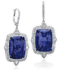 Faceted Cabochon Tanzanite and Diamond Earrings