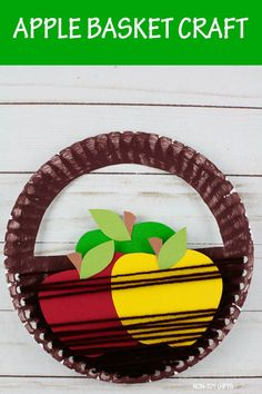 Apple basket craft for kids to pair with an apple orchard visit this fall or autumn. Easy paper plate and yarn craft for preschoolers and older kdis. #applebasket #applebasketcraft #applecraft #paperplatecraft #yarncraft