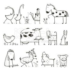 Funny Cartoon Farm Domestic Animals Collection for. - - Funny Cartoon Farm Domestic Animals Collection for… – - Doodle Drawings, Doodle Art, Easy Drawings, Funny Drawings, Animal Sketches, Animal Drawings, Funny Sketches, Cartoon Sketches, Coloring For Kids
