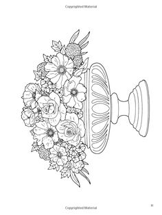 Dover Publications Floral Beauty Coloring Book artwork by Charlene Tarbox Blank Coloring Pages, Adult Coloring Book Pages, Flower Coloring Pages, Printable Coloring Pages, Coloring Books, Fleurs Van Gogh, Hand Embroidery Patterns, Embroidery Designs, Simple Line Drawings