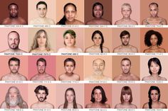 """The Pantone Chart of Every Human Skin Color. This is cool but """"every skin tone"""" is not represented here. Pantone Chart, Vintage Style Wallpaper, Skin Color Palette, Skin Colors, Color Palettes, Human Skin Color, Facial, Dark Skin Tone"""