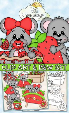 Berry Sweet Mice - CU Clip Art & B&W Set Includes: 1 mouse sitting inside a strawberry pie, 1 mouse in a strawberry patch, 1 mouse holding a strawberry, 1 mouse holding a wooden spoon with strawberry jam, 2 mice inside a cart of strawberries, 1 mouse sitting inside a pint of strawberries.