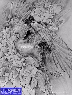 Red Ink Tattoos, Asian Tattoos, Japanese Tattoo Art, Japanese Tattoo Designs, Tattoo Japonais, Thigh Piece Tattoos, Hanya Tattoo, Crane Tattoo, Fu Dog