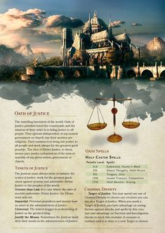 Oath of Justice Paladin Design & Layout – Whipstache Designs Dungeons And Dragons Game, Dungeons And Dragons Homebrew, Dnd Paladin, Dnd Classes, Dnd 5e Homebrew, Dnd Monsters, Tabletop Rpg, Dnd Characters, Anime Artwork