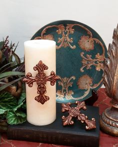 This listing is for a SET OF COPPER PAINTED CROSS CANDLE PINS. These beautiful Old World Style decorative cross candle pins have been hand painted
