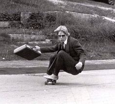 """My dad skateboarding at Hyde school, 1982. I think he was cooler than me."""