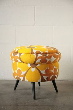 Retro orange storage stool #retro #furniture