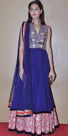 Nargis Fakhri in navy blue Anarkali Suit