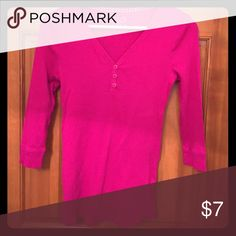 Pink maternity Henley Ribbed 3/4 sleeve Henley in great condition. Old Navy Tops Tees - Long Sleeve