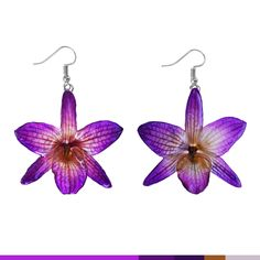 "Nobile ""Dendrobium"" Orchid Earrings. Handmade real flower earrings (purple)"