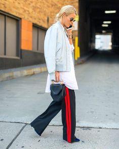 С чем носить брюки и штаны с лампасами на фото. С чем носить легинсы с лампасами. С чем носить джинсы, юбку, легинсы с лампасами.