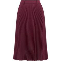 PradaPlissé Twill Midi Skirt (£835) via Polyvore featuring skirts, burgundy, prada skirt, prada, midi skirt, purple midi skirt and purple skirt