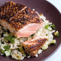 Taste Mag | Sumach salmon on brown rice and preserved lemon salad @ https://taste.co.za/recipes/sumach-salmon-on-brown-rice-and-preserved-lemon-salad/
