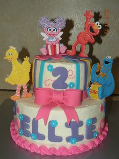 These are all of Morgan's favorite Sesame Street characters. I may just have to make this cake in April.