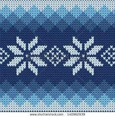 Detailed knitted blue jacquard pattern with white flowers - stock vector