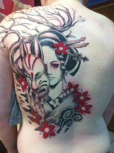 Geisha Tattoos are loved by the people who love Japanese culture. A geisha tattoo is often featured by a geisha girl dressed in colorful traditional Japanese Demon Tattoo, Japanese Geisha Tattoo, Japanese Tattoo Designs, Japanese Tattoos, Girly Tattoos, Skull Tattoos, Body Art Tattoos, Hand Tattoos, Sweet Tattoos
