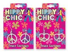 Hippy Chick Peace Earrings . $6.49. Peace Sign Earrings. Available in Round or Heart Shaped. DESIGNS SHIP RANDOMLY. Pierced ears