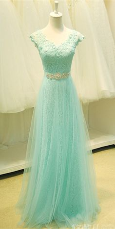 Cap sleeve Lace V-Neck Applique 2015 Prom Dress Long. http://www.luulla.com/product/480539/a-line-mint-lace-tulle-cap-sleeves-prom-dresses-beaded-belt-v-neck-evening-prom-gown-dress-custom-made-lace-back-up-girl-graduation-dress