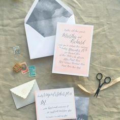 dreamy bohemian calligraphy watercolor wedding invites | Smitten on Paper